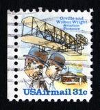 Selo de porte postal dos irmãos de Wright do vintage Foto de Stock