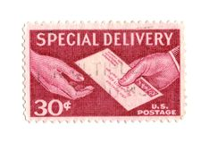Selo de porte postal velho do centavo dos EUA 30 Fotografia de Stock