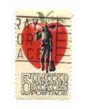 Selo de porte postal velho dos EUA cinco centavos Imagens de Stock