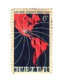 Selo de porte postal velho dos EUA com América imagens de stock