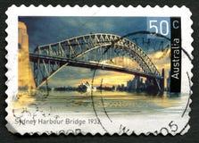 Selo de Sydney Harbour Bridge Australian Postage imagem de stock