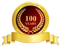 selo de um aniversário de 100 anos com fita Fotografia de Stock Royalty Free