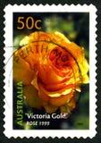 Selo de Victoria Gold Rose Australian Postage fotos de stock royalty free