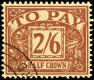 Selo devido do porte postal britânico do vintage Imagens de Stock
