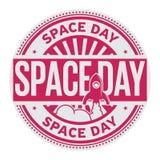 Selo do dia do espaço ilustração do vetor