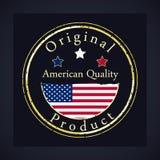Selo do grunge do ouro com a qualidade americana do texto e o produto original ilustração royalty free