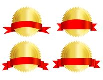 Selo do ouro com fita vermelha Imagem de Stock Royalty Free