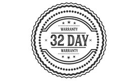 selo do projeto da ilustração da garantia de 32 dias foto de stock
