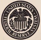 Selo do sistema de Federal Reserve no nós nota de dólar 100 ex Fotografia de Stock