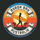 Selo do surfista ou texto abstrato Byron Bay do sinal, Austrália Imagens de Stock