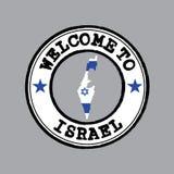 Selo do vetor da boa vinda a Israel com a bandeira da nação no esboço do mapa no centro ilustração stock