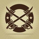 Selo do vintage com espadas cruzadas Fotografia de Stock Royalty Free