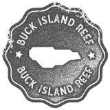 Selo do vintage do mapa de Buck Island Reef ilustração do vetor
