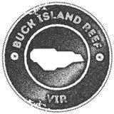 Selo do vintage do mapa de Buck Island Reef ilustração royalty free