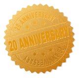 Selo dourado da medalha de 20 ANIVERSÁRIOS Imagem de Stock