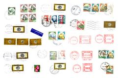 Selo e etiquetas italianos do cargo Imagens de Stock