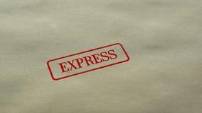 Selo expresso carimbado no fundo de papel vazio, serviço de entrega rápido, cliente filme