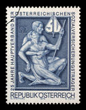 Selo impresso por Áustria, simbolismo das mostras para o auxílio e o apoio Imagem de Stock Royalty Free