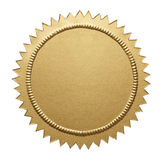 Selo metálico do ouro foto de stock
