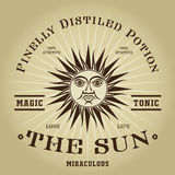 Selo mágico retro do tônico de The Sun do vintage Imagens de Stock
