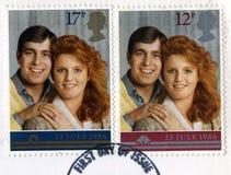Selo postal britânico que comemora o casamento real Fotos de Stock Royalty Free