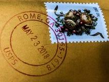 Selo postal cancelado de Roma, Geórgia fotografia de stock