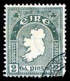 Selo postal cancelado Eire do mapa da República da Irlanda fotografia de stock
