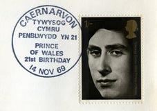 Selo postal carimbado do príncipe de Gales Foto de Stock Royalty Free