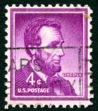 Selo postal de Abraham Lincoln EUA fotografia de stock