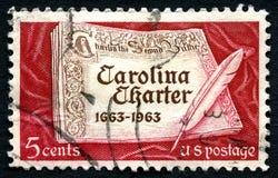 Selo postal de Carolina Charter EUA foto de stock royalty free