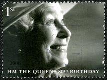 Selo postal do aniversário da rainha Elizabeth II 80th Imagens de Stock