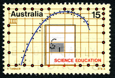 Selo postal do australiano da educação da ciência imagens de stock royalty free