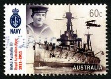 Selo postal do australiano da navio de guerra de HMAS Austrália Fotos de Stock Royalty Free