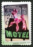 Selo postal do australiano do paraíso dos surfistas Foto de Stock Royalty Free