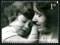 Selo postal do Reino Unido do aniversário da rainha Elizabeth II 80th Foto de Stock
