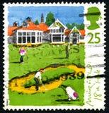 Selo postal do Reino Unido do furo de Muirfield 18o Foto de Stock Royalty Free