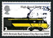 Selo postal do Reino Unido do trem de alta velocidade Foto de Stock