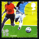 Selo postal do Reino Unido dos Olympics de Londres 2012 do futebol Foto de Stock