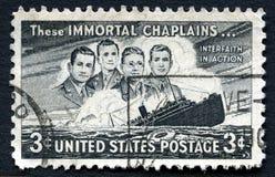 Selo postal imortal destes E.U. dos capelães Imagem de Stock