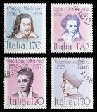 Selo postal quatro do serie famoso dos italianos, cerca de 1978-1979 Fotografia de Stock