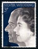 Selo postal real do Reino Unido do casamento de prata Foto de Stock Royalty Free