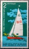 Selo postal 1973 sailing bulg?ria fotografia de stock