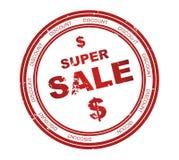 Selo redondo com venda super do texto ilustração stock