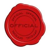 Selo redondo do selo da cera da palavra oficial vermelha ilustração stock