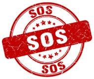 Selo redondo do vintage do grunge vermelho do SOS ilustração do vetor