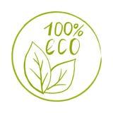 Selo tirado mão com textura Etiqueta para o eco 100% ilustração stock