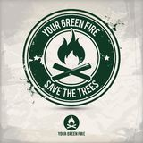 Selo verde alternativo do fogo ilustração stock