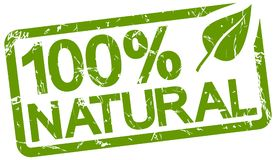 selo verde com texto 100% natural Foto de Stock Royalty Free