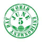 Selo verde do grunge para o dia de ambiente de mundo Imagem de Stock