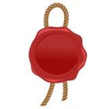 Selo vermelho do selo da cera com vetor da corda Foto de Stock